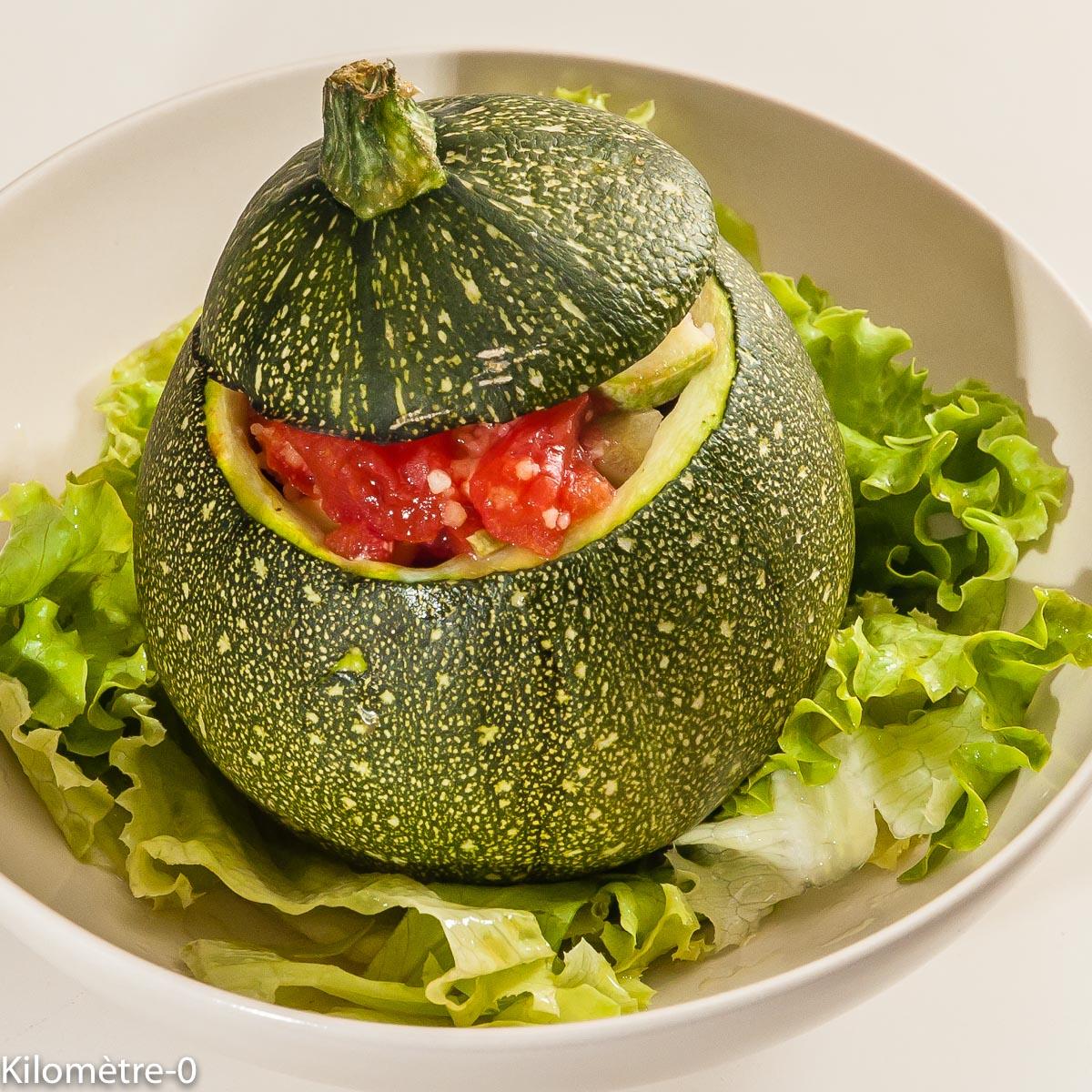 Photo de recette de  courgettes rondes farices, tomates de Kilomètre-0, blog de cuisine réalisée à partir de produits locaux et issus de circuits courts