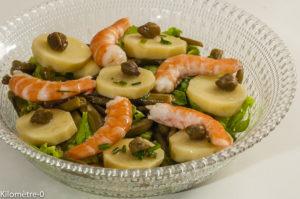 Photo de recette de salade de pomme de terre, capres, crevettes, haricots verts, d'été de Kilomètre-0, blog de cuisine réalisée à partir de produits locaux et issus de circuits courts