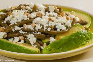 Photo de recette de salade, haricots verts, avocat, pignons de pin, fêta, été,de Kilomètre-0, blog de cuisine réalisée à partir de produits locaux et issus de circuits courts