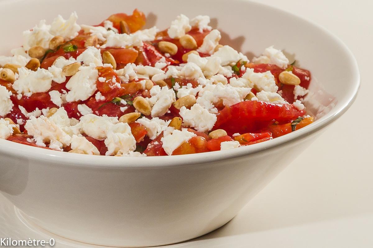 Photo de recette de salade, fêta, pignons de pin, fêta, facile, rapide, léger de  Kilomètre-0, blog de cuisine réalisée à partir de produits locaux et issus de circuits courts