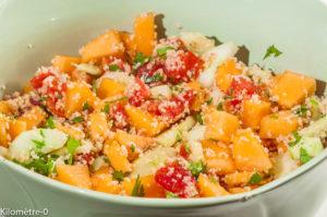 Photo de recette de taboulé de melon, facile, rapide, léger, frais de Kilomètre-0, blog de cuisine réalisée à partir de produits locaux et issus de circuits courts
