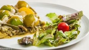 Photo de recette de frittata, omelette, haricots verts, végétarienne, healty, légère, bio de Kilomètre-0, blog de cuisine réalisée à partir de produits locaux et issus de circuits courts
