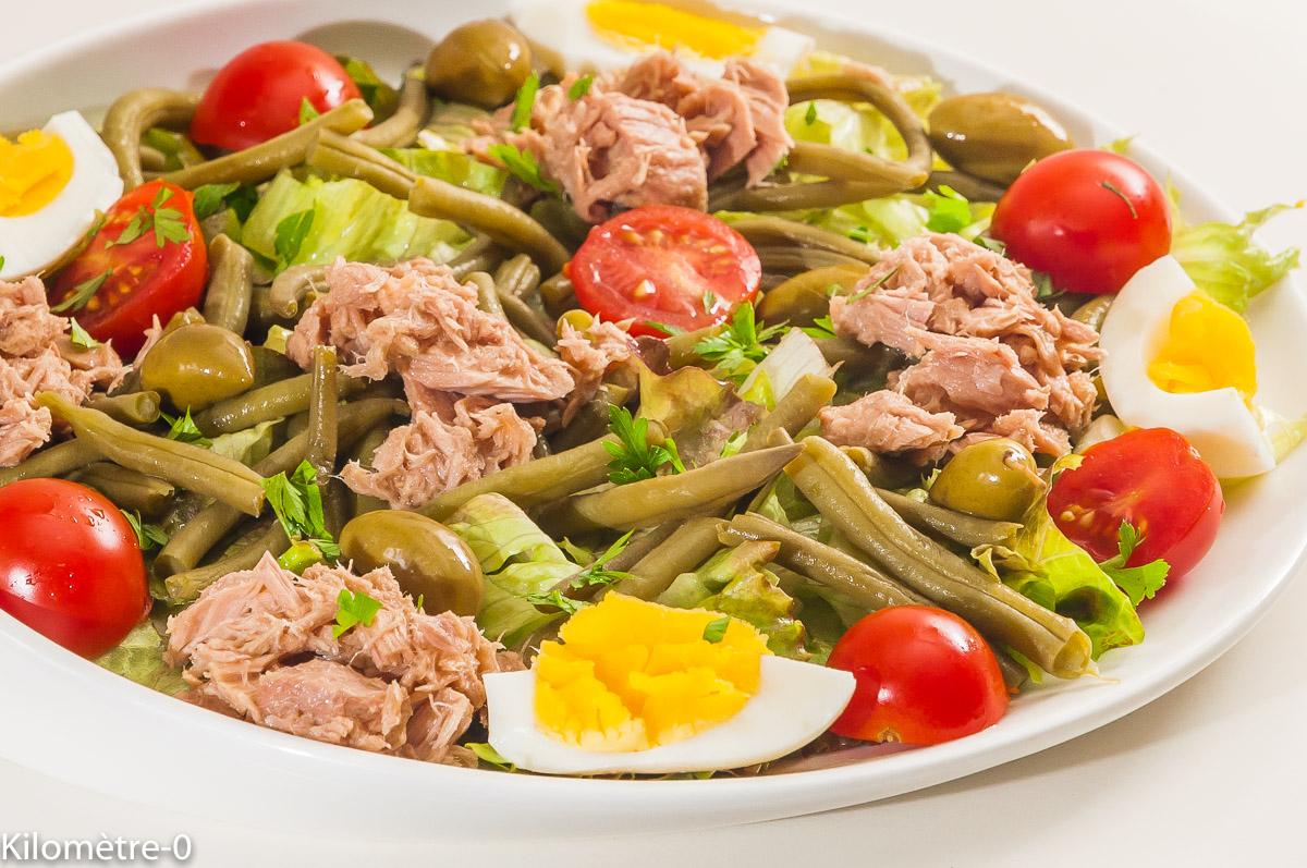 Photo de recette de salade de haricots verts, oeufs, tomate, facile, été de  Kilomètre-0, blog de cuisine réalisée à partir de produits locaux et issus de circuits courts