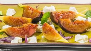 Photo de recette de poelée, figues, fêta, miel, facile, végétarien, healty, santé de Kilomètre-0, blog de cuisine réalisée à partir de produits locaux et issus de circuits courts