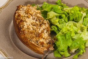 Photo de recette d'aubergines farcies, faciles, rapides, été, légères de  Kilomètre-0, blog de cuisine réalisée à partir de produits locaux et issus de circuits courts