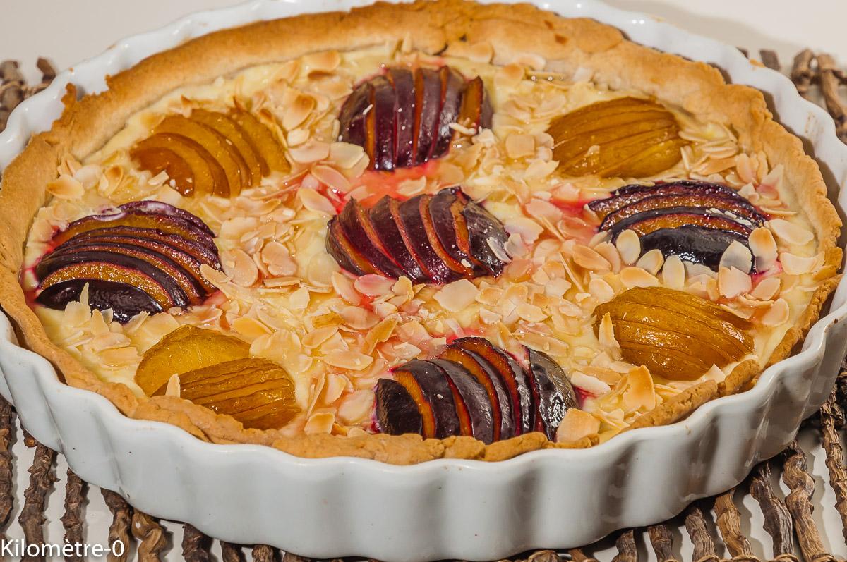 Photo de recette de tarte aux prunes, amandes, gâteau, dessert facile, ricotta, de Kilomètre-0, blog de cuisine réalisée à partir de produits locaux et issus de circuits courts