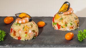 Photo de recette de salade Gibraltar, recette de Gibraltar, semoule, crevettes, salade composée, moules, poivrons, concombre, recette facile, recette légère, de Kilomètre-0, blog de cuisine réalisée à partir de produits locaux et issus de circuits courts