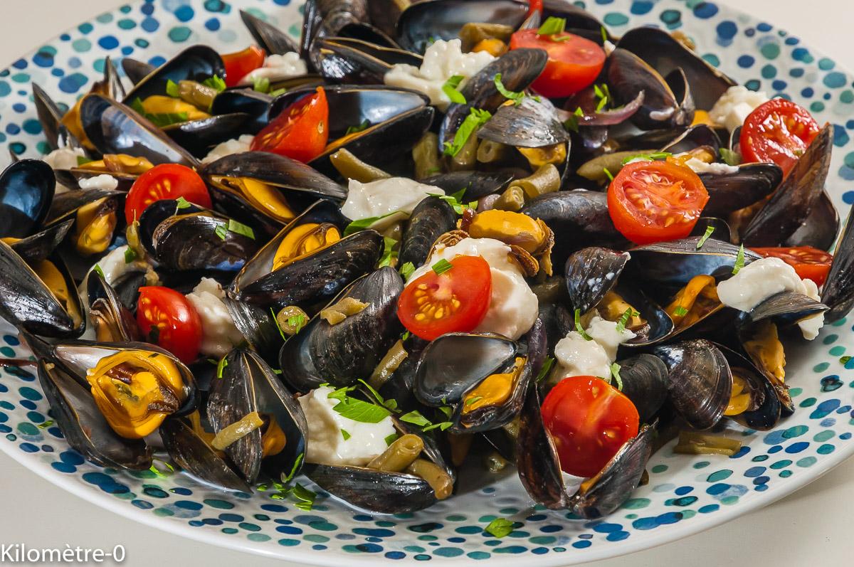 Photo de recette de moules, facile, originale, haricots verts, mozzarella, fruits de mer, légère, rapide de Kilomètre-0, blog de cuisine réalisée à partir de produits locaux et issus de circuits courts