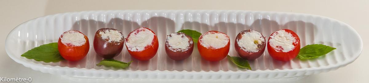 Photo de recette d'apéro, végétarien, facile, rapide, tomate, ricotta, healthy, buffet, été de  Kilomètre-0, blog de cuisine réalisée à partir de produits locaux et issus de circuits courts