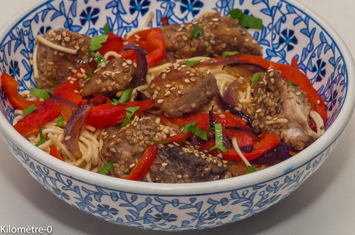 Photo de recette de thon mariné, nouilles chinoises, cuisine chinoise, Chine, poivrons, graines de sésame, Kilomètre-0, blog de cuisine réalisée à partir de produits locaux et issus de circuits courts