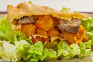 Photo de recette de lasagne, potimarron, saucisse, automne, Kilomètre-0, blog de cuisine réalisée à partir de produits locaux et issus de circuits courts