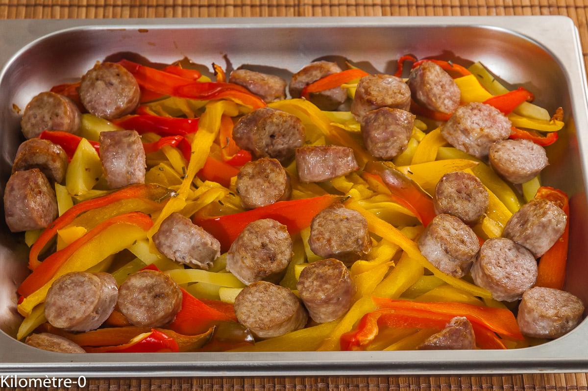 Photo de recette de saucisse, pommes de terre légères, poivrons, bio, légumes, sauté, facile, rapide de Kilomètre-0, blog de cuisine réalisée à partir de produits locaux et issus de circuits courts