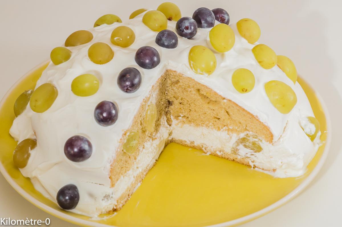 Photo de recette de gâteau aux raisins frais, fromager, yaourt grec de Kilomètre-0, blog de cuisine réalisée à partir de produits locaux et issus de circuits courts