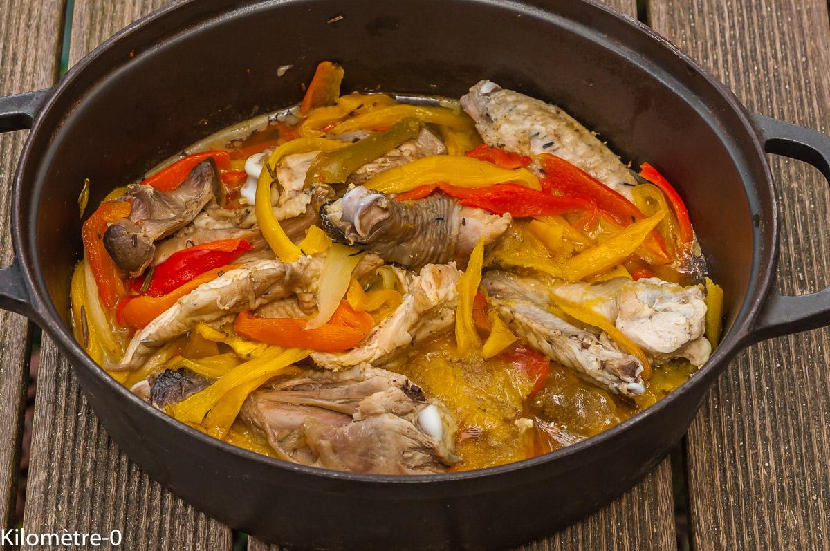 Photo de recette de cocotte, poivrons, bio, poulet, mijoté, Kilomètre-0, blog de cuisine réalisée à partir de produits locaux et issus de circuits courts