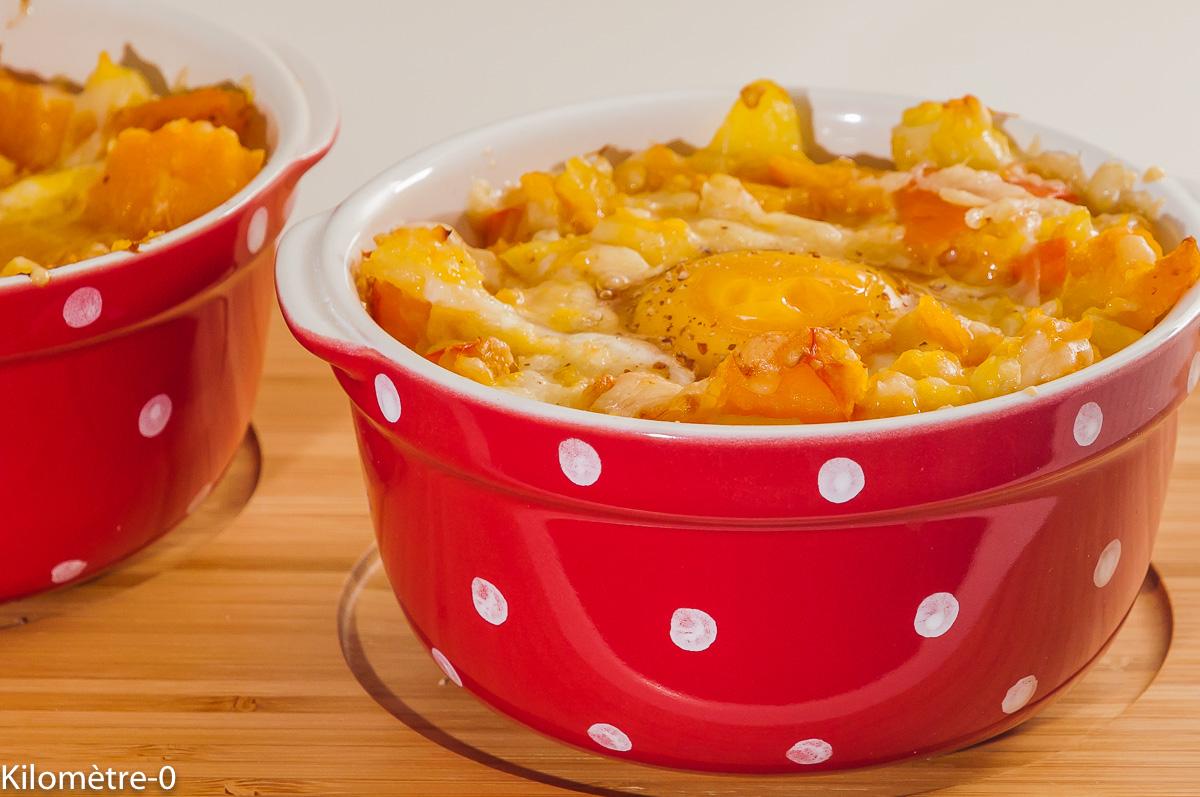 Photo de recette de gratin, cocotte, potimarron, oeufs ,pommes de terre, comté de Kilomètre-0, blog de cuisine réalisée à partir de produits locaux et issus de circuits courts