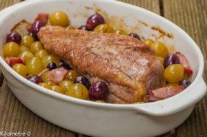 Photo de recette de  filet mignon de porc, raisins frais, thym, bacon de Kilomètre-0, blog de cuisine réalisée à partir de produits locaux et issus de circuits courts