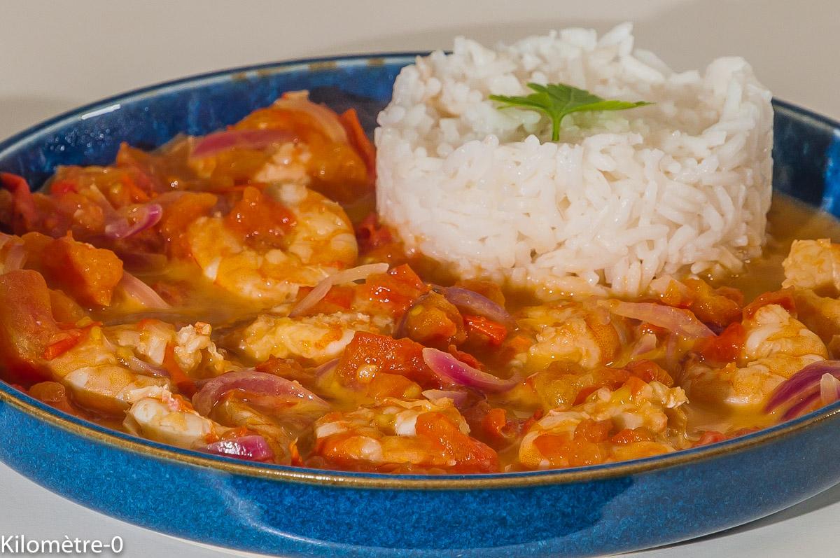 Photo de recette angolaise, Angola, ragoût de crevettes, facile, tomates, riz, lait de coco, rapide, légère, de Kilomètre-0, blog de cuisine réalisée à partir de produits locaux et issus de circuits courts