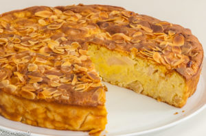Photo de recette de gâteau facile, pommes, riz au lait, amandes, bio, rapide, dessert, fruits de Kilomètre-0, blog de cuisine réalisée à partir de produits locaux et issus de circuits courts
