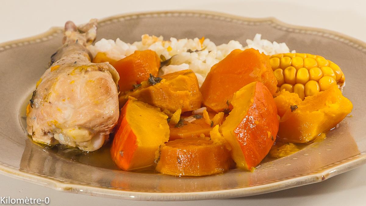 Photo de recette  facile du Panama, plat national panaméen, sancocho, poulet, courges, patate douce, riz, de Kilomètre-0, blog de cuisine réalisée à partir de produits locaux et issus de circuits courts