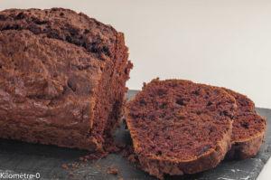 Photo de recette de cake, gâteau du matin, chocolat, cacao, aubergines, léger, rapide, facile, bio de Kilomètre-0, blog de cuisine réalisée à partir de produits locaux et issus de circuits courts