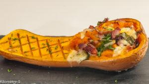 Photo de recette de courge, butternut farcie, bacon, mozzarella, blette, facile, automne, Kilomètre-0, blog de cuisine réalisée à partir de produits locaux et issus de circuits courts