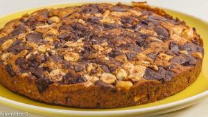 Photo de recette de blondie, blondies, cookies, facile, chocolat, noisettes, rapide de Kilomètre-0, blog de cuisine réalisée à partir de produits locaux et issus de circuits courts