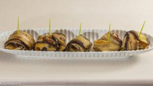 Photo de recette d'aubergine, coulemelles, champignons, comté, apéro, légumes, bouchées, végétarienne de  Kilomètre-0, blog de cuisine réalisée à partir de produits locaux et issus de circuits courts