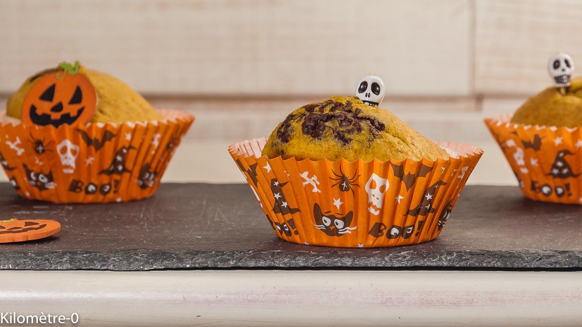 Photo de recette de  muffins, halloween, courge, butternut, potimarron, facile, légumes, chocolat de Kilomètre-0, blog de cuisine réalisée à partir de produits locaux et issus de circuits courts