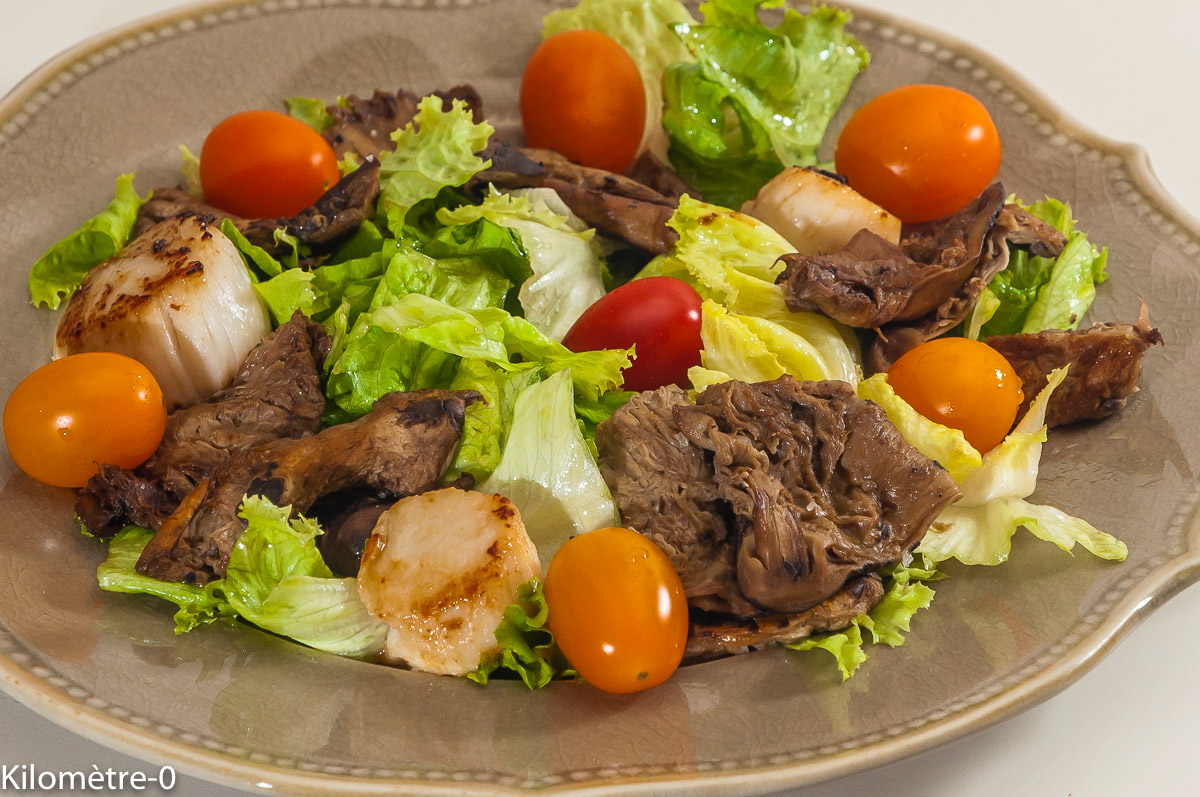 Photo de recette de salade, saint jacques, coulemelles de Kilomètre-0, blog de cuisine réalisée à partir de produits locaux et issus de circuits courts