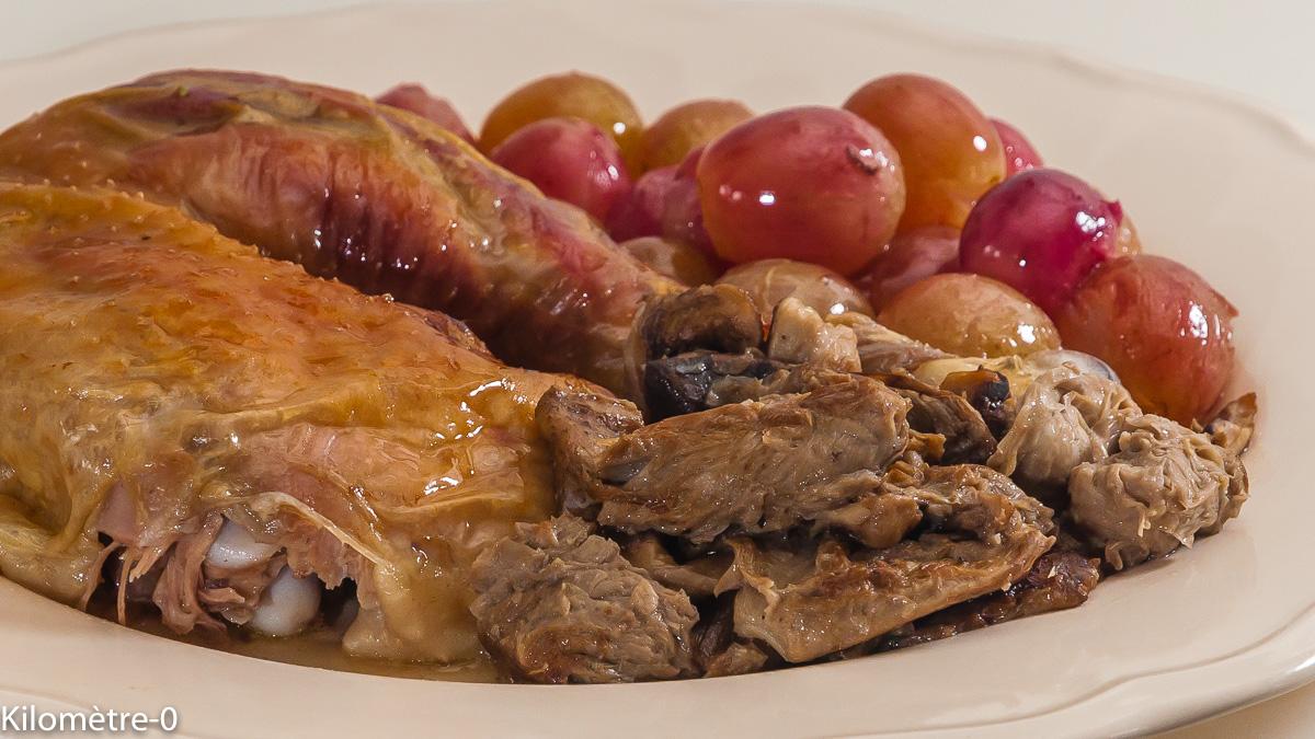 Photo de recette de poulet, automne, raisins, coulemelles, champignons de Kilomètre-0, blog de cuisine réalisée à partir de produits locaux et issus de circuits courts