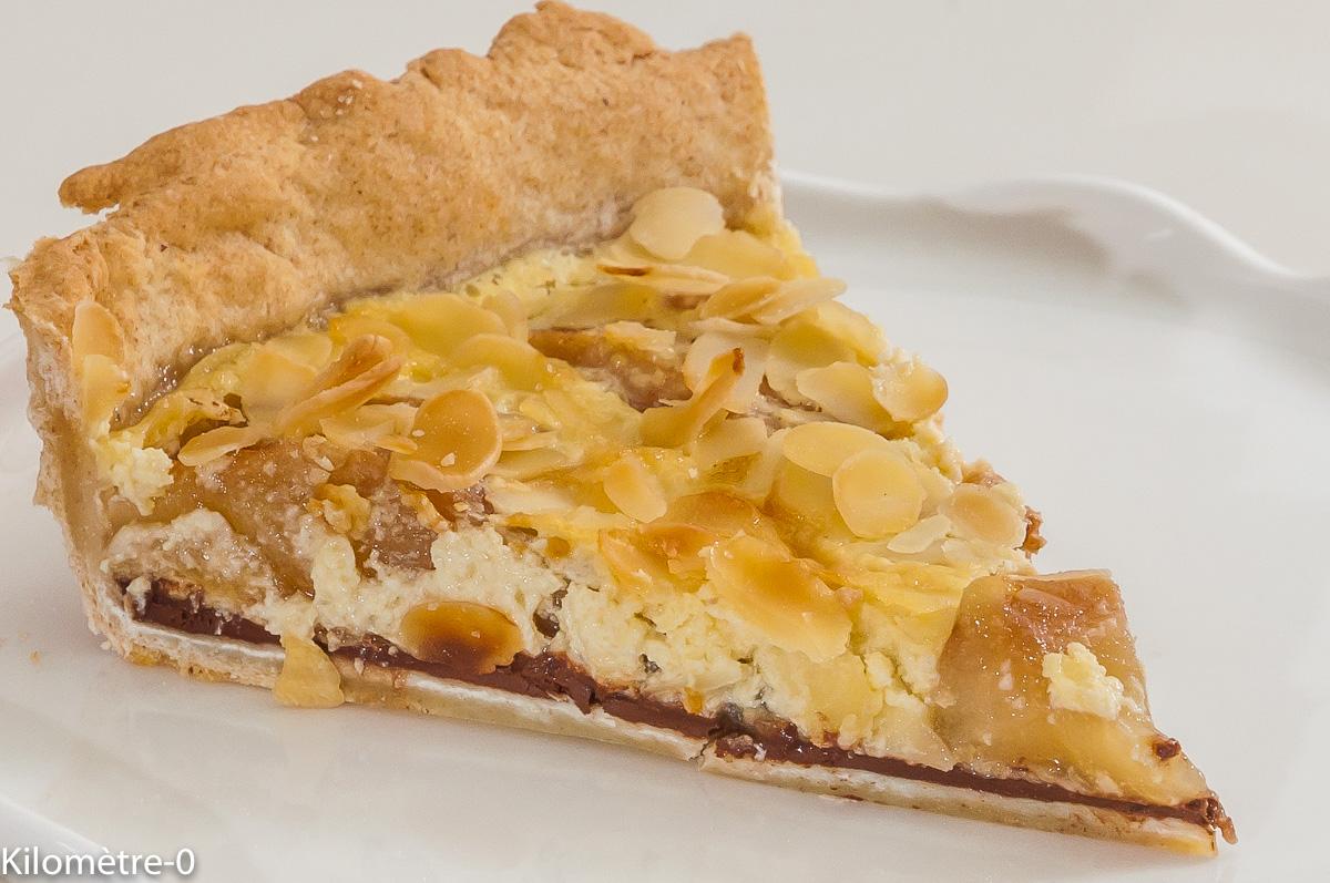 Photo de recette de tarte poires chocolat, facile, automne, dessert, légère Kilomètre-0, blog de cuisine réalisée à partir de produits locaux et issus de circuits courts