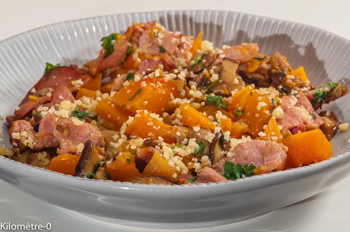 Photo de recette de légumes d'automne, bacon, cèpes, cuisine de cèpes de Kilomètre-0, blog de cuisine réalisée à partir de produits locaux et issus de circuits courts