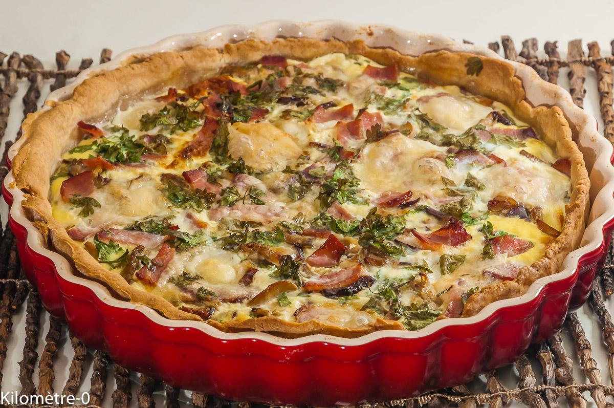 Photo de recette de quiche, cèpes, bacon, mozzarella, automne, facile, de  Kilomètre-0, blog de cuisine réalisée à partir de produits locaux et issus de circuits courts