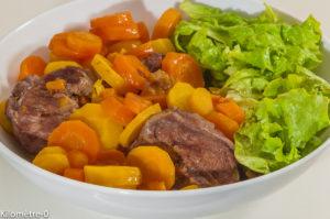 Photo de recette de joues de porc, carottes, mijolté de Kilomètre-0, blog de cuisine réalisée à partir de produits locaux et issus de circuits courts