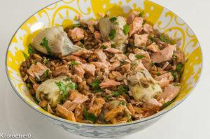 Photo de recette de salade de lentilles, artichauts, saumon frais, Kilomètre-0, blog de cuisine réalisée à partir de produits locaux et issus de circuits courts