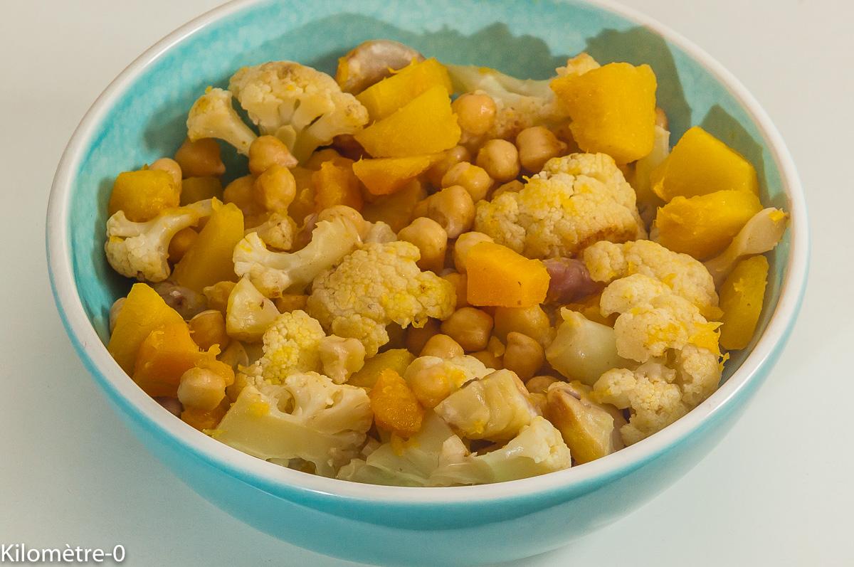 Photo de recette de chou fleur, pois chiches, châtaignes, butternut de Kilomètre-0, blog de cuisine réalisée à partir de produits locaux et issus de circuits courts