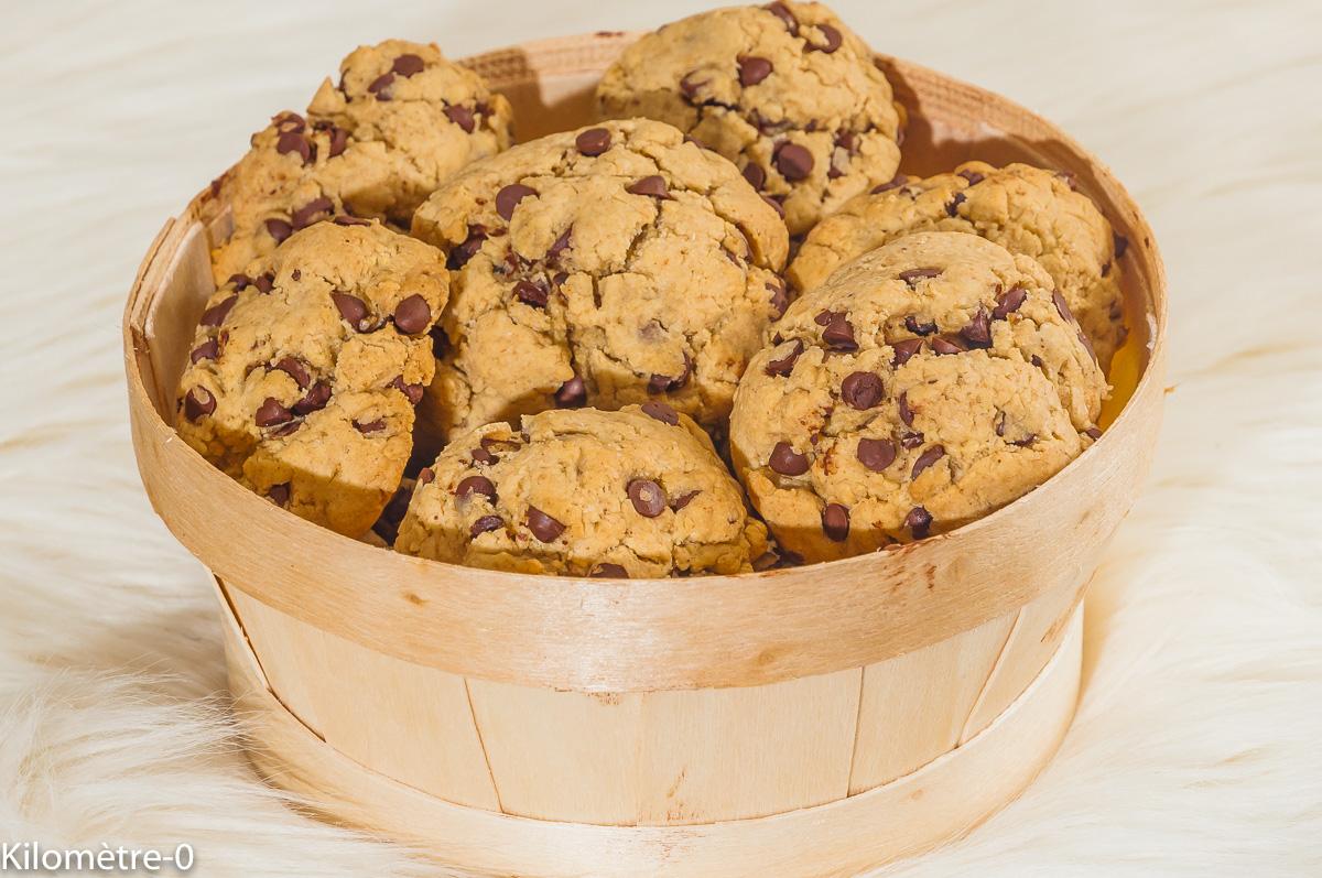 Photo de recette de cookies facile, bio, rapide, chocolat, beurre de cacahuètes, purée de cacahuètes de Kilomètre-0, blog de cuisine réalisée à partir de produits locaux et issus de circuits courts