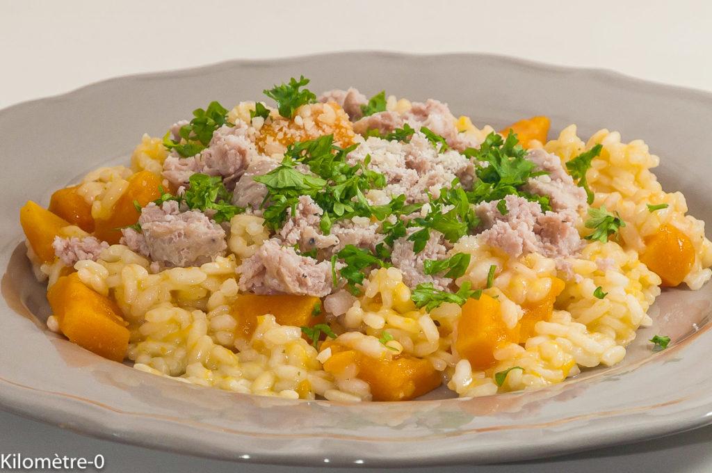 Photo de recette de risotto, potimarron, saucisse, facile, léger, rapide, italienne, bio de  Kilomètre-0, blog de cuisine réalisée à partir de produits locaux et issus de circuits courts