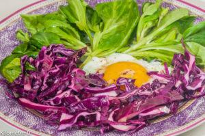 Photo de recette végétarienne, chou rouge, oeuf, mache, facile, rapide, healthy, hiver,  de Kilomètre-0, blog de cuisine réalisée à partir de produits locaux et issus de circuits courts