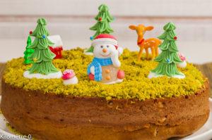 Photo de recette de gâteau du matin, Noël, facile, rapide, enfant, décoré, paysage d'hiver, pistaches, beau, original de Kilomètre-0, blog de cuisine réalisée à partir de produits locaux et issus de circuits courts