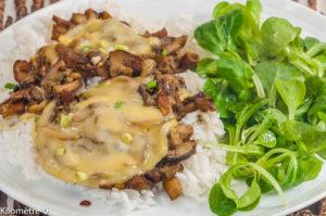 Photo de recette de poêlée de champignons au fromage – Shamu datchi, Bhoutan, cèpes, riz, végétarienne, facile, rapide, bio de Kilomètre-0, blog de cuisine réalisée à partir de produits locaux et issus de circuits courts