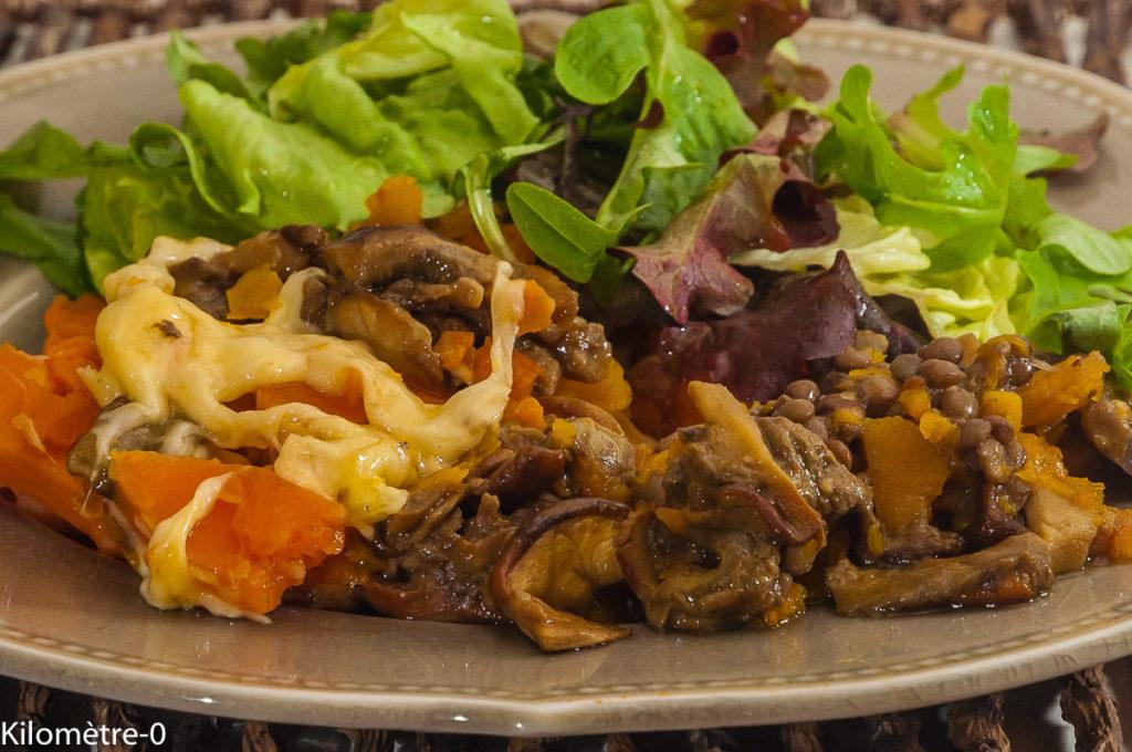 Photo de recette de gratin facile, butternut, cèpes, lentilles, patate douce, bio, healty, végétarienne, légumes, deKilomètre-0, blog de cuisine réalisée à partir de produits locaux et issus de circuits courts