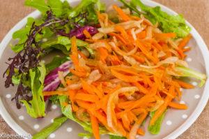 Photo de recette de salade facile, composée, carottes, crudités, yacon, poire de terre, poires de terre, végétarienne, légère, hiver de Kilomètre-0, blog de cuisine réalisée à partir de produits locaux et issus de circuits courts