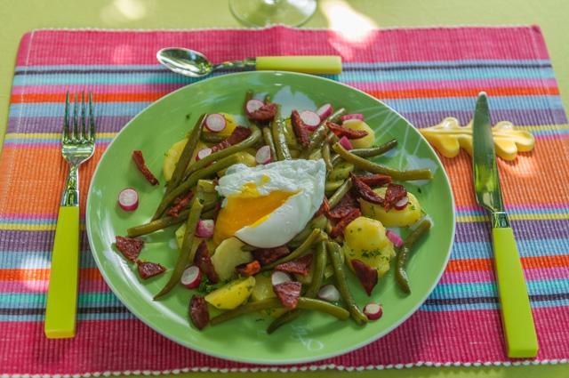 image de recette légère de salade de haricots verts, oeufs pochés, chorizo, pommes de terre, légère, bio, facile, été, poêlée, healthy, de Kilomètre-0