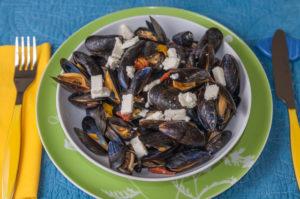 image de recette de moules au chorizo, facile, rapide, maison, léger, fêta, de Kilomètre-0