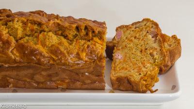 Photo de recette de cake carottes jambon, healthy, rapide, léger, facile de Kilomètre-0, blog de cuisine réalisée à partir de produits de saison et issus de circuits courts