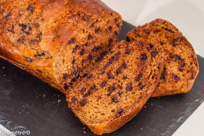 Photo de recette de cake du matin, gâteau, miel, chocolat de  Kilomètre-0, blog de cuisine réalisée à partir de produits de saison et issus de circuits courts