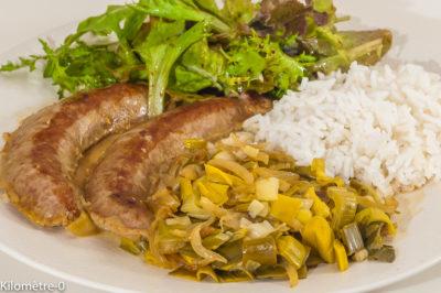 Photo de recette de saucisse wurst, poireau, riz, cuisine bretonne, cuisine allemande, facile deKilomètre-0, blog de cuisine réalisée à partir de produits de saison et issus de circuits courts