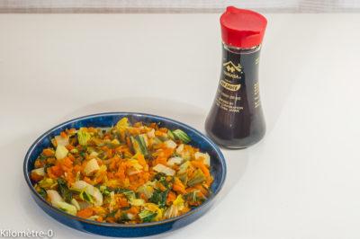 Photo de recette de poelée de légumes poireaux, carotte, chou chinois, sauce soja, cuisine facile, rapide, bio, healthy de  de  Kilomètre-0, blog de cuisine réalisée à partir de produits de saison et issus de circuits courts