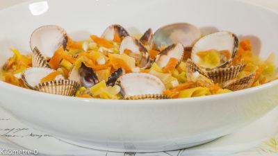 Photo de recette de coques facile, légère, lait de coco, cives, légumes d'hiver, légère, retour de pêche de Kilomètre-0, blog de cuisine réalisée à partir de produits de saison et issus de circuits courts